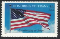 Scott 3508- Honoring Veterans, US Flag- MNH (S/A) 34c 2001- unused mint stamp