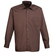 Premier Mens Long Sleeve Poplin Shirt Business Formal Work Casual Suit Brown 18