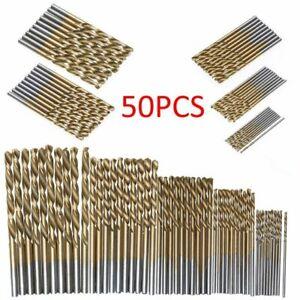 50Pcs Titanium Coated Drill Bits HSS High Speed Steel Drill Bits Set Tool