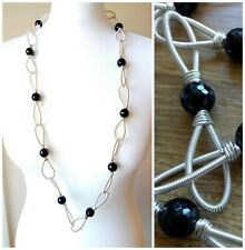 Black Onyx Faceted Necklace with Silver Plated Wire Statement Chunky Handcrafted