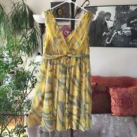 POSTMARK sz 8 Anthropologie Yellow & Green Print Chiffon Silk Dress