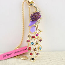 Chain Necklace Free Gift Bag Betsey Johnson Crystal Peacock Gold Pendant