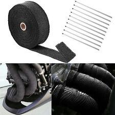 "2"" 50Ft Roll Black Fiberglass Exhaust Header Pipe Heat Wrap Tape + 10 Ties Kit"