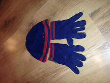 boys age 7/10 TED BAKER hat/gloves blue/red cotton OK condiiton 100% authentic