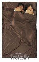 DOUBLE Silk Liner Sleeping Bag Hostel Camping Travel Inner Sheet Sack for COUPLE