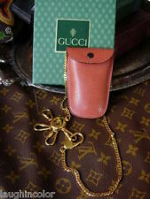 Ultra RARE Vintage GUCCI Key Ring Leather Keeper Gold Chain Accessory GG NIB