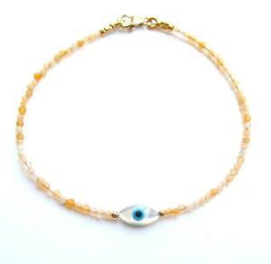 opal natural gemstone 14k gold evil eye shell bracelet handmade for luck kabbala