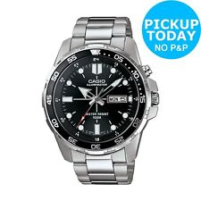 Casio Men's Stainless Steel Rotating Bezel Black Dial Backlight Analogue Watch