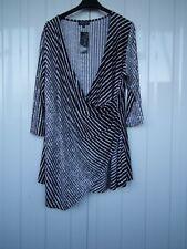 Grace Black & White Stripe Wrap Front Tunic Top Size 24