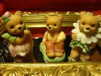 Vtg Lot (3) Homco Home Interior 3 Collectible Bears ~ Summer Garden Fun    R6