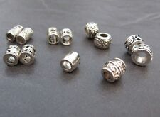 12 super skinny silver tone dread braid beard dreadlock beads 3.2 to 4.8mm hole