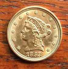 $2.50 Liberty Gold Quarter Eagle Coin ~ Au ~ 1853 ~ Usa