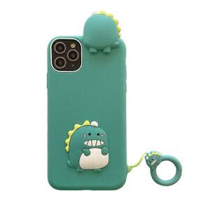 Funny Animals Green Little Dinosaur 3D Cartoon Soft Silicone Case for Girls Boys