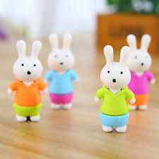 4PCS Funny Cute Rabbit  Rubber Pencil Eraser Set Stationery Novelty Children