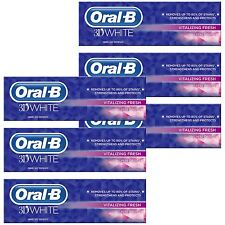 6 Oral-B 3D White Vitalizing Fresh Mint Toothpaste Whitening Enamel Protect 75ml