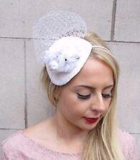 White Ivory Rose Flower Fascinator Teardrop Races Wedding Headband Net Vtg 4030