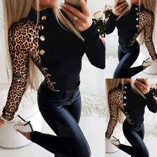 Sexy Damen Leopard Langarmshirt Herbst Bluse Hemd Freizeit Oberteile Slim Tops