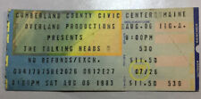 Concert Ticket Talking Heads Portland Maine Aug 6, 1983 Cumberland County Cc