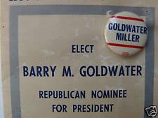 Goldwater Miller 1964 President Button & Brochure