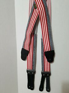 """New Welsh Suspenders 2"""" Button Red White & Blue"""