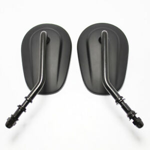 Black Motorcycle Mirrors For Harley FLHTC Classic FLHYUC FLTRX FXDB FXDF FLSTF