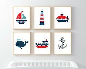 Nursery Pictures Nautical Theme 6 Prints Set Baby Wall Art Pirate Ship Marine