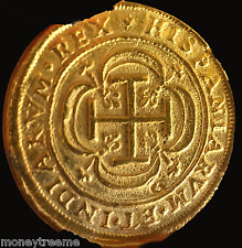 "MEXICO 1714 ROYAL 8 ESCUDOS 18K GOLD ""PLATED"" DOUBLOON COB SHIPWRECK 1715"