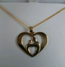"""10k Yellow Gold Mother & Child Heart Pendant - With 18"""" 14ktgf Chain"""