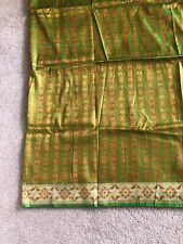 100% Pure Silk Tanchoi Banarasi saree Green & Rust Indian Sari Pure Zari New