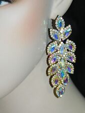 GOLD AB IRIDESCENT MARQUISE AND ROUND RHINESTONE CRYSTAL PARTY EARRINGS /3046