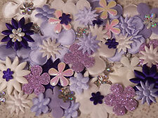 60 Fabric FLOWERS Purple & White FFE8 Hair Clip Card Scrapbook embellishments