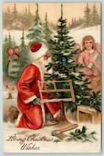 Santa Claus in Forest  with Angel~Children Antique Christmas~PFB ~Postcard-h568