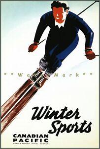 Ski Canada 1940 Winter Sports Canadian Pacific Vintage Poster Print Retro Art