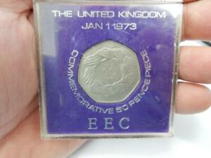 vintage old coin 1973 50p coin FIFTY PENCE COIN