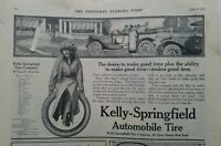 1912 Kelly Springfield automobile tires company girl logo  vintage ad
