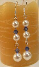 made w Blue SWAROVSKI Crystal & Cream Pearl Element Earrings Medium