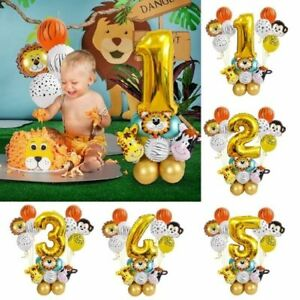 27 Pcs Jungle Animal Balloons Set Latex Gold Number Globos Party Baby Shower