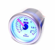 S2 Universal 52mm Turbo Boost Gauge / Meter -1  to 2 Bar Pressure blue light