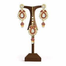 Wedding Earrings Mang Tika Party Jewelry Hot Pink Indian Traditional Gold Plated