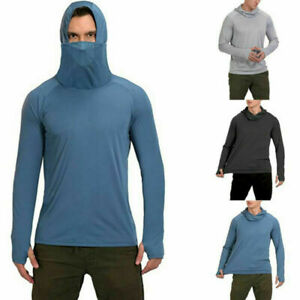 Mens UPF 50+ Sun Skin Protection T-Shirt Hoodie Long Sleeve Outdoor Fishing Tops