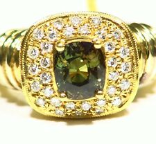 Vintage 2.78CT 18K Gold Natural Cut White Diamond Alexandrite Engagement Ring