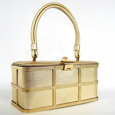 VTG Etra Box Purse Metal Cage Handbag Gold Lame 50s 60s Pin Up Faux Leather Tote