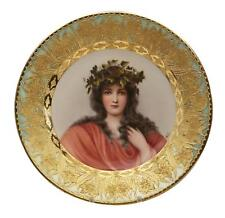 Antique Royal Vienna Porcelain Hand Painted Portrait Plate Signed Wagner