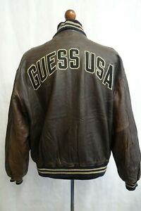 Men's Vintage Guess Jeans USA Leather Bomber Jacket XL 46R