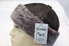 Black & Brown 100% Sheepskin Shearling Leather Fur Beanie Round Bucket Hat S-3XL