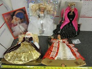 4 1992, 1996 & 1998 Happy Holidays Barbie Dolls w/ Clothes, Jewelry, Stands LOT