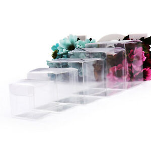 50pcs Transparent Party Candy Bags Square Clear PVC Boxes Wedding Favor Gift Box
