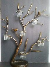 Centerpiece Large 6 Votive Candle Holders w/ Birds Branches Antique Bronze 21x24