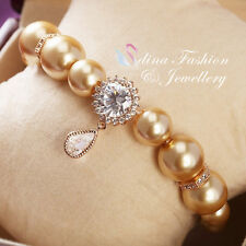 18K Rose Gold Plated Simulated Diamond & Pearl Teardrop Sunflower Bracelet