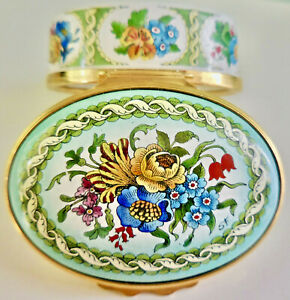 VINTAGE HALCYON DAYS ENAMELS HP BILSTON & BATTERSEA COLORFUL FLORAL BOX: NR!